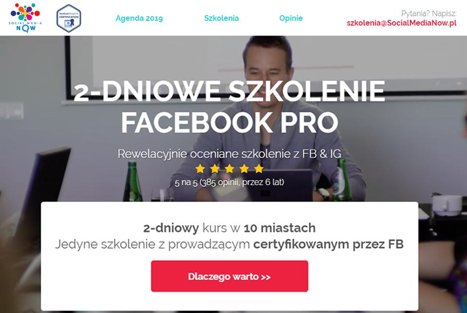 Szkolenie dwudniowe Facebook PRO prowadzący Piotr Chmielewski