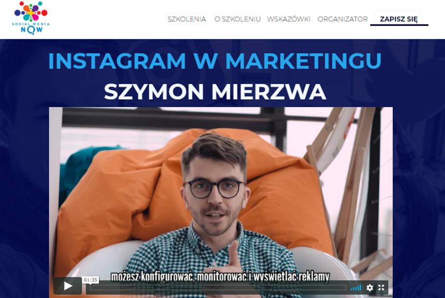 Szkolenie Instagram w marketingu prowadzący Szymon Mierzwa