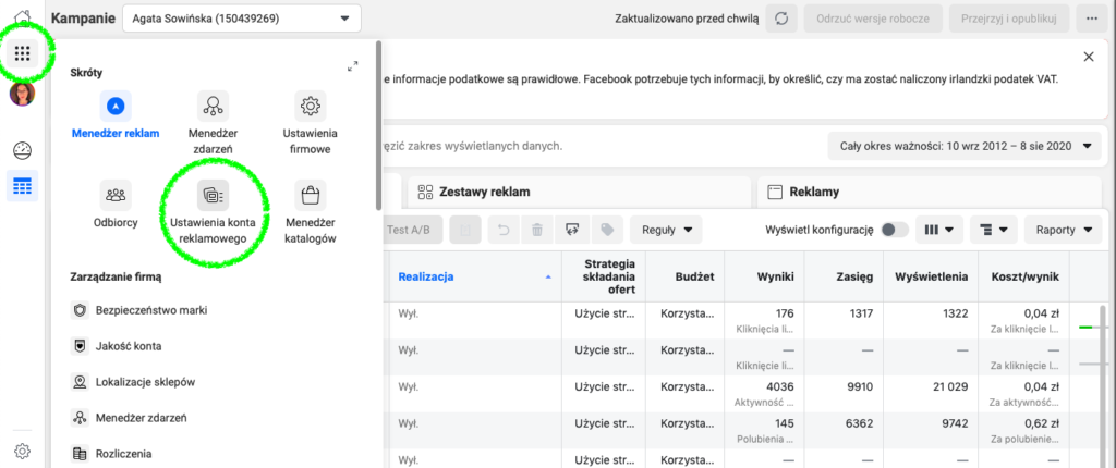 dodawanie do konta reklamowego na Facebooku: ustawienia konta reklamowego na Facebooku