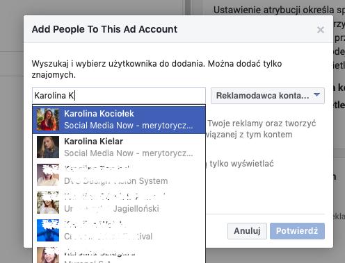 dodawanie do konta reklamowego na Facebooku: wybieranie osoby