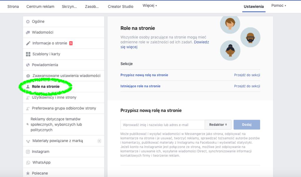 Nadawanie uprawnień na stronie firmowej na Facebooku: role na stronie