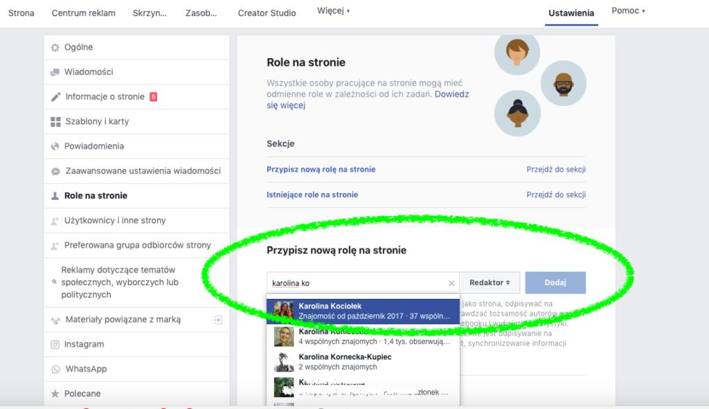Nadawanie uprawnień na stronie firmowej na Facebooku: dodawanie osoby