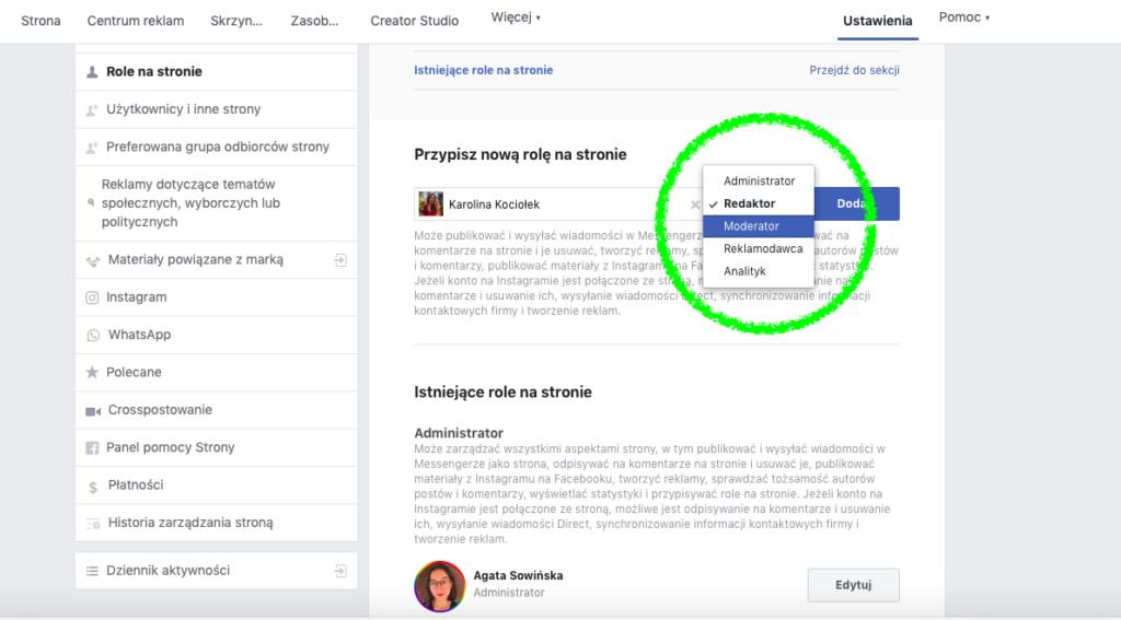 Nadawanie uprawnień na stronie firmowej na Facebooku: wybieranie poziomu uprawnień