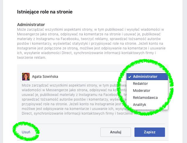 Nadawanie uprawnień na stronie firmowej na Facebooku: zmiana poziomu uprawnień